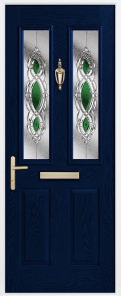 Door glazing in green