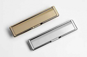 Letterboxes in gold and chrome