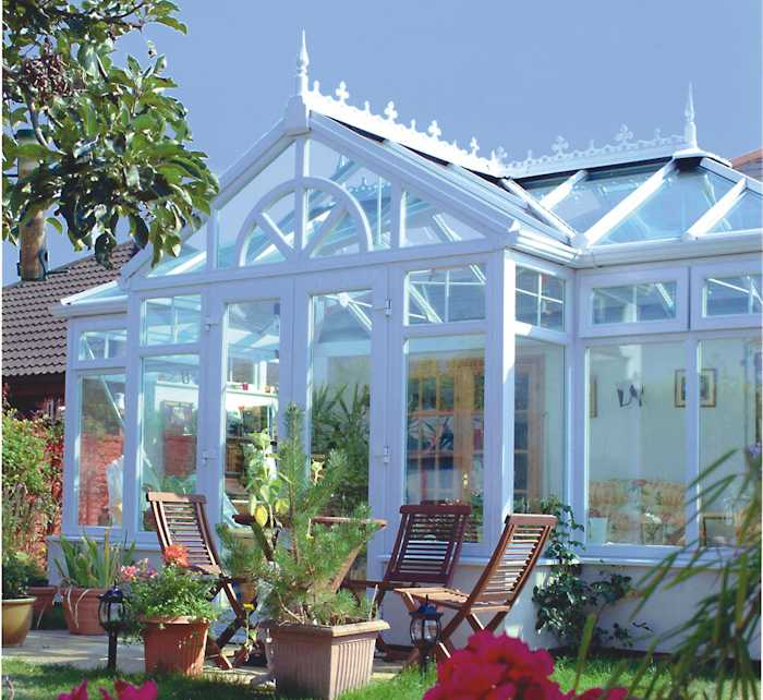 T shaped conservatory